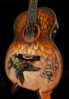 Custom-Painted Guitars | Hand painted guitar, built by Jay Lichty, artwork by Clark Hipolito