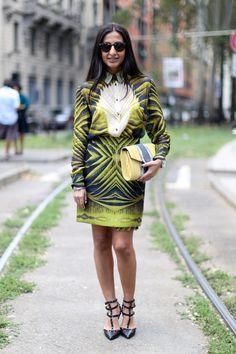 A printed blouse and skirt matchup.