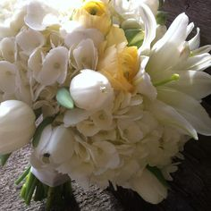 Dreamy bouquet of butter yellow & creamy white, recently made for a bridal portrait session. I love spring flowers!