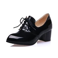 Lucksender Womens Vintage Style Patent Leather Mid Chunky Heel Lace Up Oxford Shoes * Want to know more, visit http://www.passion-4fashion.com/shoes/lucksender-womens-vintage-style-patent-leather-mid-chunky-heel-lace-up-oxford-shoes/?mn=120716091219