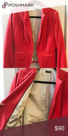 JCREW CORAL VELVET BLAZER Has a clip to hold front of jacket together. Great color for fall/winter. Great condition, little wear J. Crew Jackets & Coats Blazers
