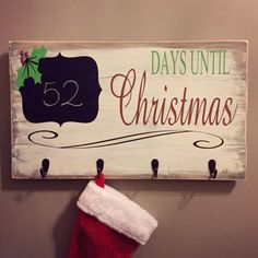 Rustic Christmas Countdown & Stocking Holder / Wooden Signs / Christmas / Holiday Decor / Stocking Holder Sign / Rustic