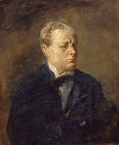 Portrait of Churchill by Ambrose McEvoy.  Beginning in 1932, when he opposed those who advocated giving Germany the right to military parity with France, Churchill spoke often of the dangers of Germany's rearmament. He later, particularly in The Gathering Storm, portrayed himself as being for a time, a lone voice calling on Britain to strengthen itself to counter the belligerence of Germany. However Lord Lloyd was the first to so agitate.