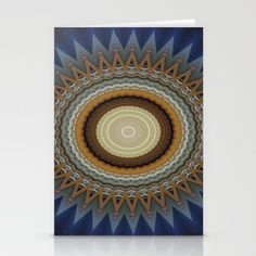 Blue kaleidoscope design Stationery Cards