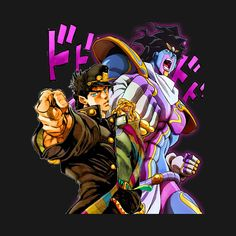 Check out this awesome 'Jotaro Kujo and Star Platinum' design on Jojo's Bizarre Adventure Stands, Jojo Bizzare Adventure, Jojo Anime, Anime Love, Jojos Bizarre Adventure Jotaro, Small Canvas Art, Jotaro Kujo, Cool Anime Wallpapers, Wallpaper Naruto Shippuden