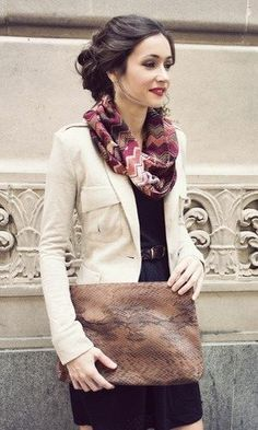 Scarf, blazer, dress & clutch come together for a polished and professional look.