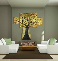 Modern Extra Large Wall Art of Tree of Life - Huge Contemporary Multiple Canvas Painting, Large Multi Panel Acrylic Artwork - Over 5 Feet !