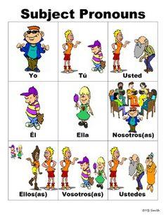 Spanish Subject Pronouns PICTURE Notes SET Study Spanish, Spanish Lesson Plans, Spanish 1, Spanish Words, Spanish Lessons, How To Speak Spanish, Learn Spanish, Spanish Games, Spanish Activities