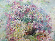 Купить Картина маслом Танец цветов Полевые цветы - розовый, цветы полевые, картина цветов