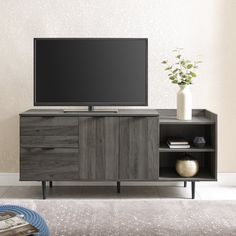 Slate Gray 58 Inch Modern Storage TV Stand - Lincoln | RC Willey Furniture Store