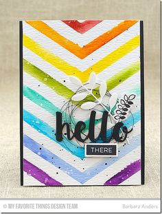 Pretty Posies, Pretty Posies Die-namics, Bold Greenery Die-namics, Hello There Die-namics. One Way Chevron Stencil - Barbara Anders  #mftstamps