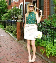 #peplum, office outfit, ruffled skirt, print top, kate spade shoreline perry bag