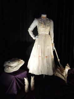 Original Mary Poppins movie costumes worn by Julie Andrews on display...