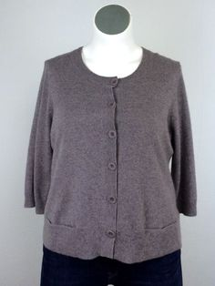 NWT $298 Eileen Fisher XL Gray Cashmere Cardigan Sweater 3/4 Sleeves Jacket Top #EileenFisher #Cardigan