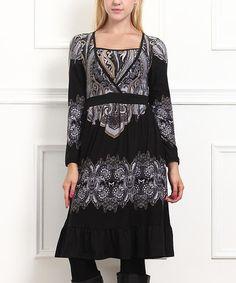 Look what I found on #zulily! Black & White Paisley Empire-Waist Dress #zulilyfinds