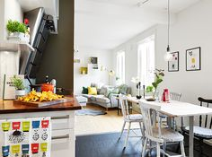 cheerful cooking/eating/living area (via Stadshem)