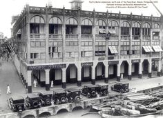 Pacific Motors salesroom, north side of the Pasig River, Manila, Philippines, 1928 Filipino Architecture, Philippine Architecture, Wisconsin, Philippine Holidays, Islands In The Pacific, Automobile, Exotic Beaches, Tropical Beaches, Cebu City