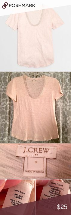 [j.crew factory] knit sparkly bead cotton tee top • style name: factory metallic scoopneck t-shirt • color: pink rose gold • thin heathered cotton w/ allover sparkle & beading detail at neck • sold out in stores and online • condition: like new, removed tags & washed after purchasing, only tried on, i prefer a looser fit for tees so this wasn't for me, best for a fitted small or loose xs ____________________________________ ✅ make an offer!     ✅ i bundle!                      ⛔️ posh…
