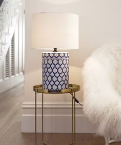 Beacon Lighting - Batik 1 light round table lamp with geometric patterned blue/white base and white shade