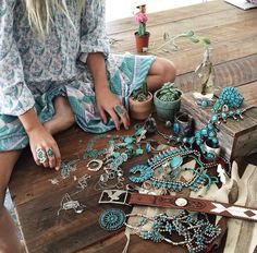 American Hippie Bohéme Boho Style Jewelry  Turquoise
