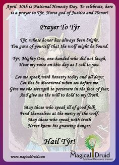 Prayer to Tyr, Norse god of war, justice and honor Norse Runes, Norse Pagan, Old Norse, Norse Goddess, Wiccan, Norse Mythology Tattoo, Happy Tuesday Quotes, Viking Quotes, Viking Life