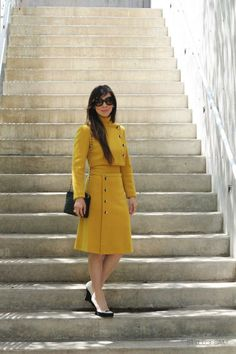 One classy dress blending modern style with retro flair. fashion doesn't get much better than this. Mustard Fashion, Mustard Dressing, Classy Dress, Mustard Yellow, Sustainable Fashion, Different Styles, Glamour, Style Inspiration, Pure Products