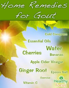 Home Remedies for Gout include Apple cider vinegar and cherries. Essential oils for gout include wintergreen, thyme, chamomile, Basil, and Frankincense.