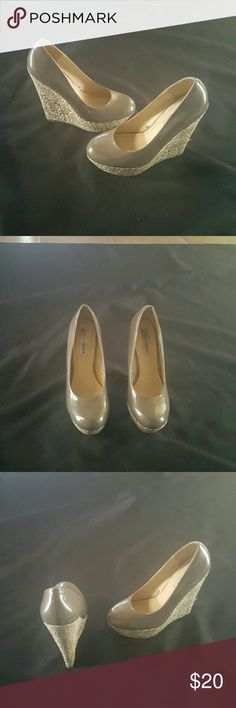 Steve Madden Haywire Wedges Dark Tan Patent Haywire Wedges  Size 6 1/2  6 1/2 inch wedge Normal wear Steve Madden Shoes Wedges