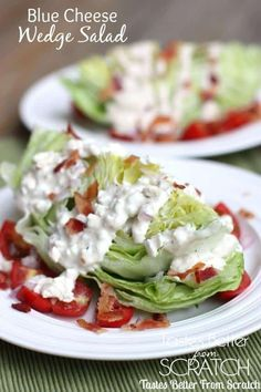 Blue cheese wedged salad is lettuce (cut in a wedge) served with blue cheese dressing and sprinkled with bacon, tomatoes, onions and nuts.