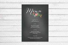 Floral Chalkboard Wedding Menu by WritefullySimple on Etsy, $30.00