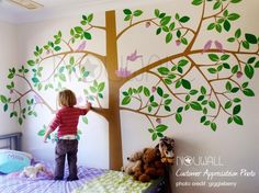 Leaves, tree and birds can all be customized. Children Wall Decal Wall Sticker Art - Giant Tree Wall Decal - 064