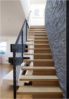 Exceptional Staircase Idea   Texture On Wall, Open Steps (add Carpet Treads), Metal