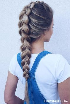 Overalls & dutch braids ♥ Our beautiful customer Ewa Malinowska.was is wearing her 160g Dirty Blonde #luxyhairextensions in this photo.