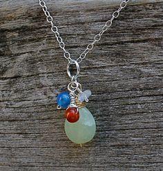 Silver Aventurine Cluster Necklace by TreasureMae on Etsy