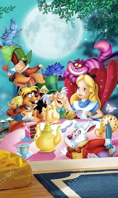 Alice in Wonderland Wall mural Disney Pixar, Disney Art, Walt Disney, Princesa Ariel Disney, Disney Wall Murals, Alice In Wonderland Artwork, Chesire Cat, Princess Alice, Wonderland Party