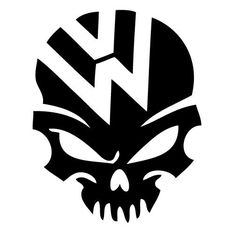 VW skull volkswagen jetta gti beetle ghia golf window sticker vinyl decal High Quality Decal Gloss white in color easy to apply to clean surface Die cut vinyl 5 X 4 inches Body Stickers, Car Stickers, Car Decals, Vinyl Decals, Volkswagen Golf 4, Vw Touran, Skull Logo, Skull Art, Vw Tattoo