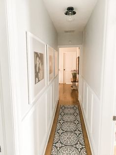 Hallway Walls, Upstairs Hallway, Home Renovation, Home Remodeling, Narrow Hallway Decorating, Small Hallways, Board And Batten, Home Upgrades, Home Interior Design