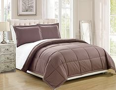 3 piece Luxury Taupe / White Reversible Goose Down Alternative Comforter set, Full / Queen with Corner Tab Duvet Insert