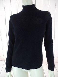 PURSUITS LTD Cashmere Sweater M Fuzzy Black Pullover Mock Turtleneck SOFT CHIC!