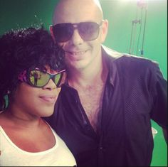 Parasite Dionea 2 color 23L sunglasses on the set of Flo Rida and Pitbull's new video