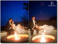 At the end of a busy day, bride and groom take time to gaze into each other eyes...while the glowing fire creates a magical moment..love it!  (c) Danny Dong Photography