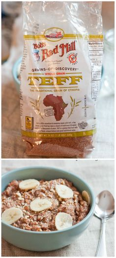 Banana Almond Teff Porridge Whole grain teff makes a delicious bowl of porridge! It's gluten-free, high in protein (a cup has 7 grams) and packed with fiber, vitamin C, iron, calcium and phosphorus. Teff Recipes, Gluten Free Recipes, Cooking Recipes, Healthy Recipes, Healthy Eats, Breakfast Options, Breakfast Recipes, Vitamin C, Ethiopian Cuisine