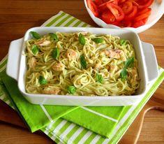 O Meu Tempero: Esparguete com salmão e molho de abacate e manjericão