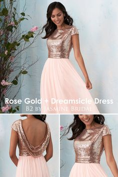 8eef2114d75 Jasmine Bridal - B2 Rose Gold + Dreamsicle Bridesmaid Dress
