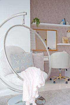 decor for teen girls Dreamy Girl's Bedroom - Hanging Bubble Chair Teen Bedroom Ideas - Cute bedroom desk area for teen girls. Teen Room Decor, Room Ideas Bedroom, Dream Bedroom, Teen Bedroom Desk, Teen Girl Bedrooms, Teen Room Furniture, Preteen Girls Rooms, Desk For Girls Room, Girls Desk Chair