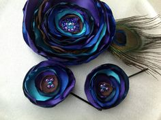 Peacock Fabric Flower Brooch and Bobby Pin by BananaSueBoutique, $18.00