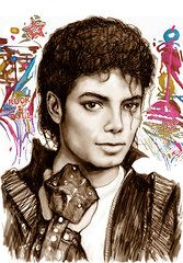 Art All Featured Images - Michael jackson colour drawing art poster  by Kim Wang