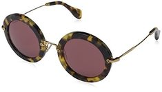 Miu Miu - Gafas de sol Redondas MU 13NS 13NS, 7S00A0, Yellow Avana, Bordeaux