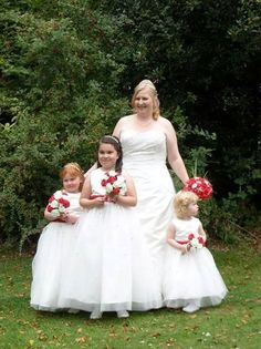 Karen and her flower girls all wearing dresses from our Phil Collins Bridal collection on Karen's wedding day.