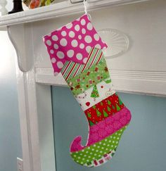 Personalized Christmas Stocking Quilted Elf by HandmadeWhimzy, $44.00